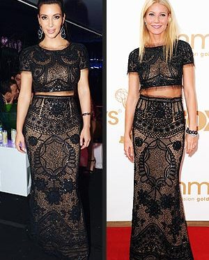 "Gwyneth Paltrow vs. Kim Kardashian: Emilio Pucci Embellished Cropped Black Top & Siren Skirt edition of, ""Who's Got Style?"""